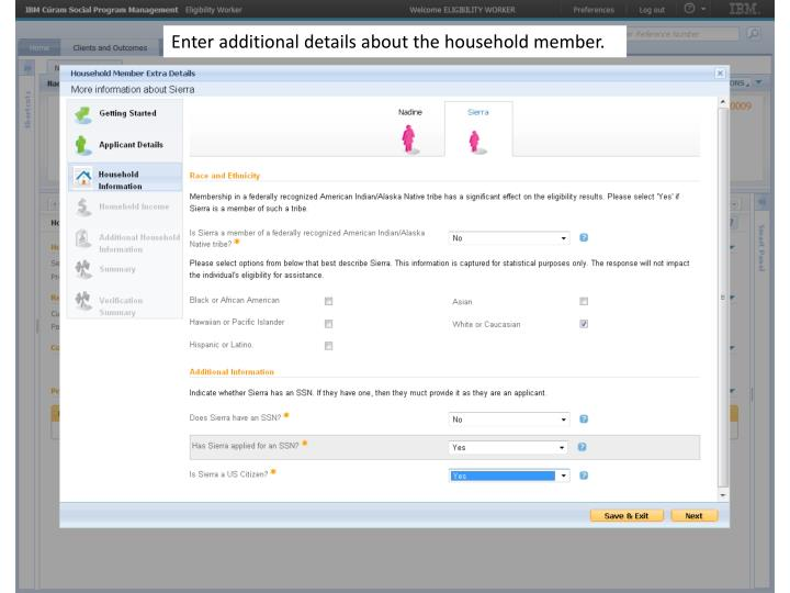 Enter additional details about the household member.