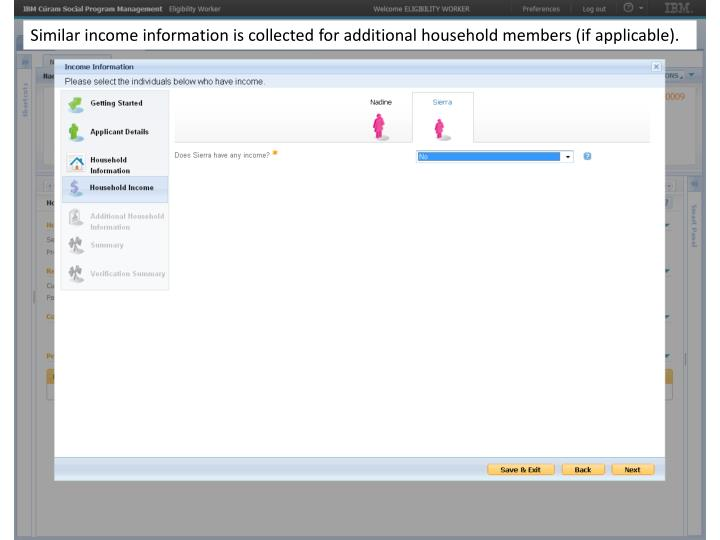 Similar income information is collected for additional household members (if applicable).