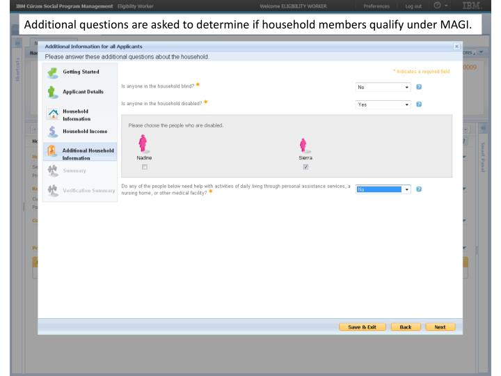 Additional questions are asked to determine if household members qualify under MAGI.