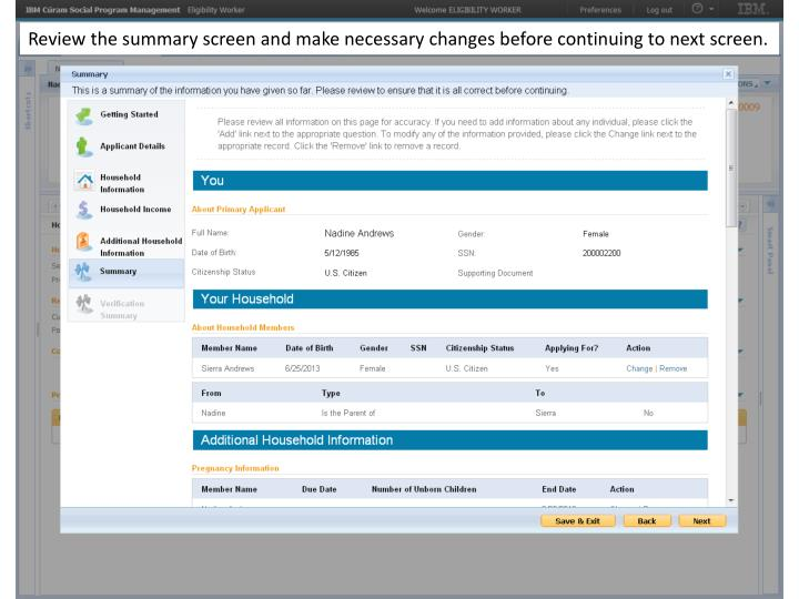 Review the summary screen and make necessary changes before continuing to next screen.