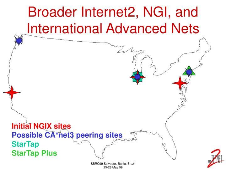 Broader Internet2, NGI, and International Advanced Nets