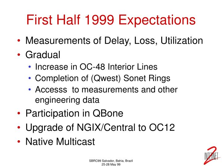 First Half 1999 Expectations