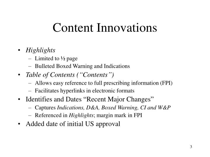 Content innovations