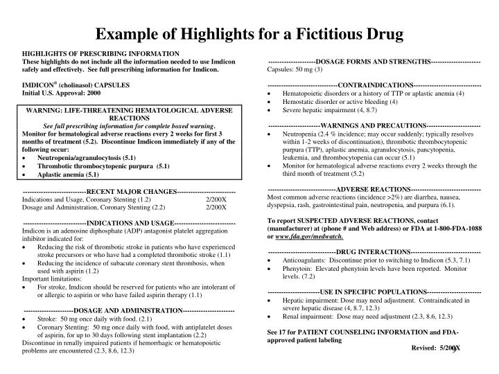 Example of Highlights for a Fictitious Drug