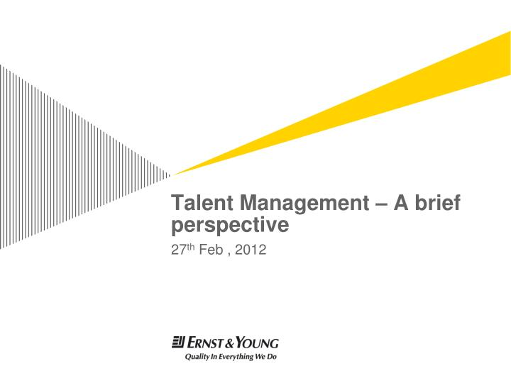 talent management a brief perspective n.