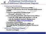 professional certifications additional educational degrees