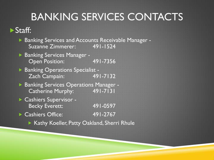 Banking services contacts