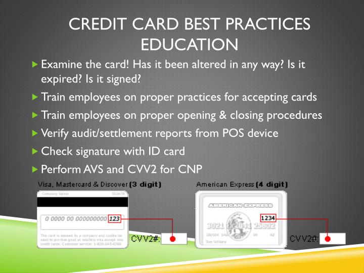 Credit Card Best Practices Education
