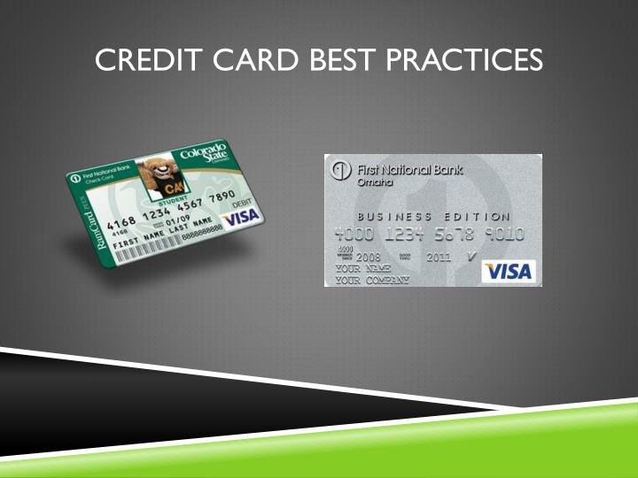 Credit Card Best Practices