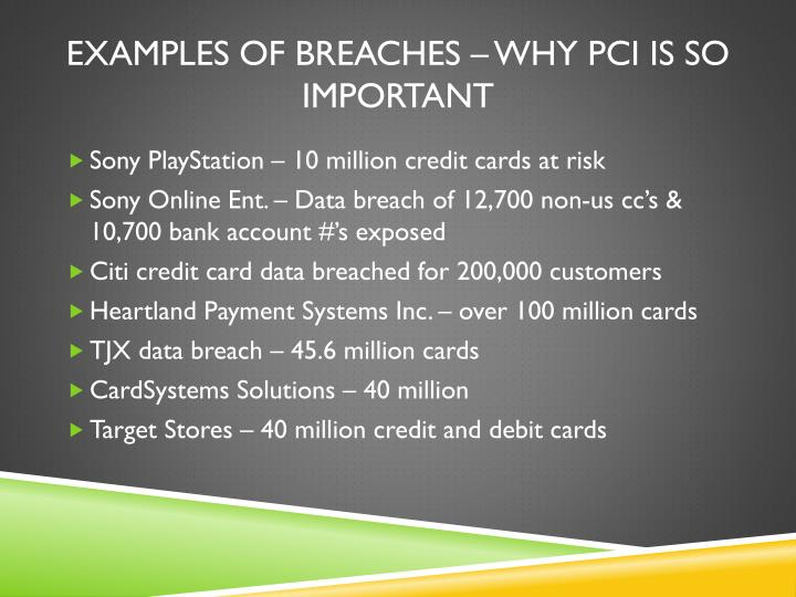 Examples of breaches – Why
