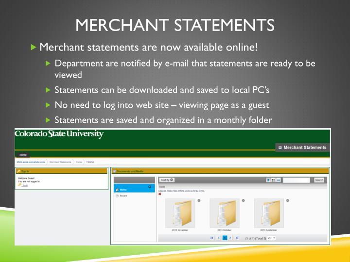 Merchant statements