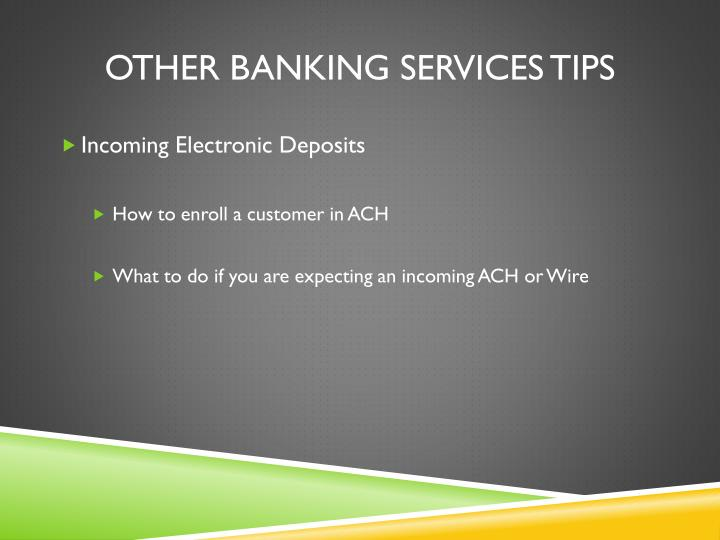 OTHER banking services TIPS