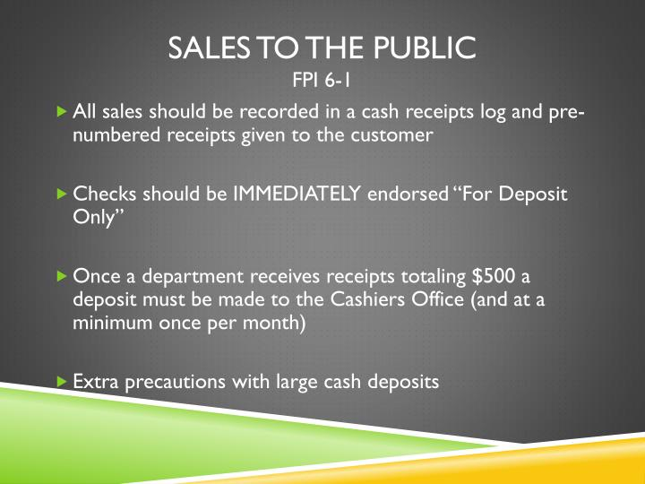 Sales to the Public