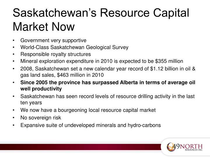 Saskatchewan's Resource Capital Market Now
