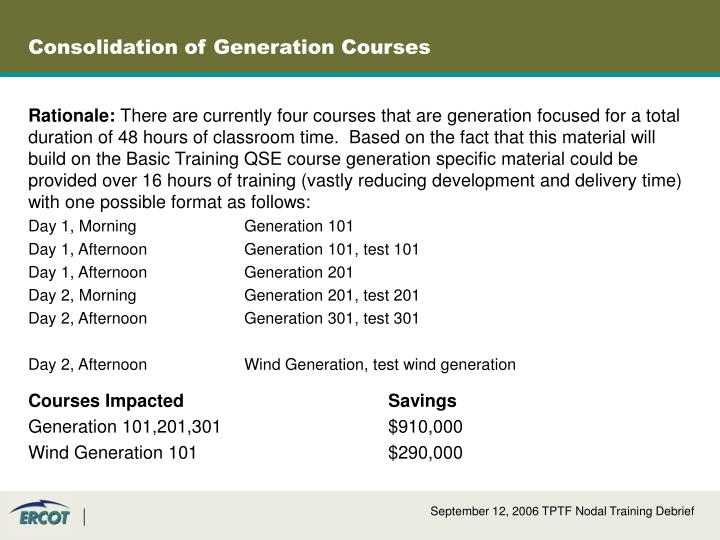 Consolidation of Generation Courses