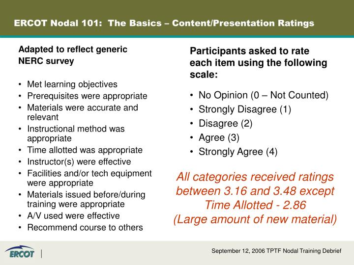 ERCOT Nodal 101:  The Basics – Content/Presentation Ratings