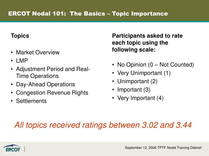 ERCOT Nodal 101:  The Basics – Topic Importance