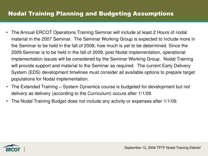Nodal Training Planning and Budgeting Assumptions