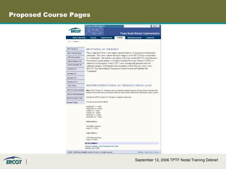 Proposed Course Pages