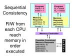 sequential consistency r w from each cpu reach memory in order executed