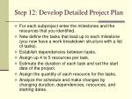 step 12 develop detailed project plan