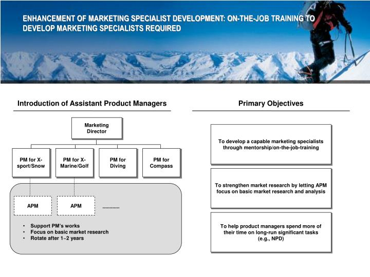 ENHANCEMENT OF MARKETING SPECIALIST DEVELOPMENT: ON-THE-JOB TRAINING TO DEVELOP MARKETING SPECIALISTS REQUIRED