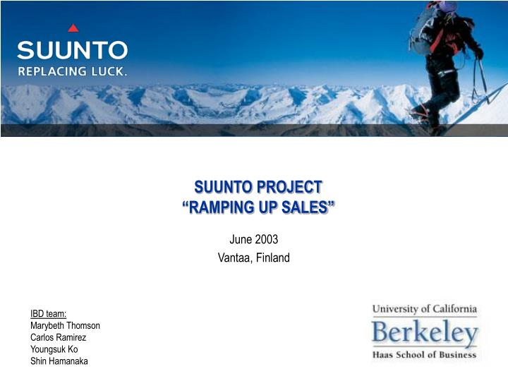 Suunto project ramping up sales