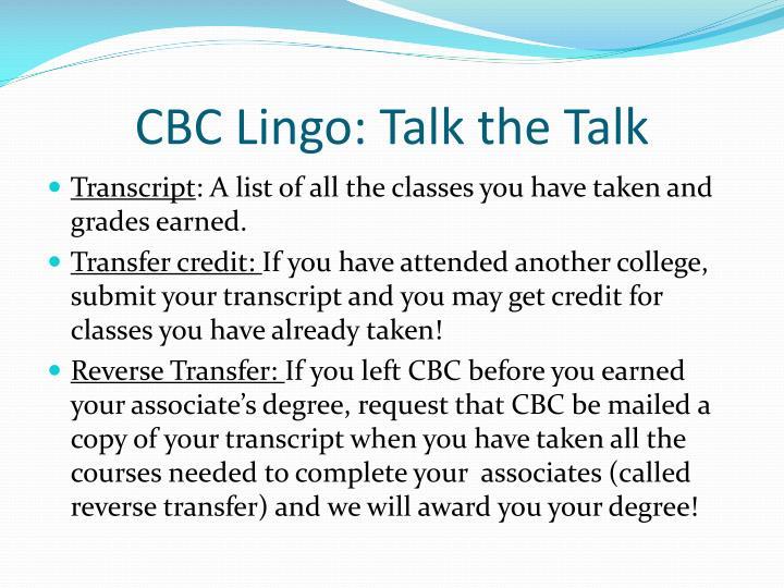CBC Lingo: