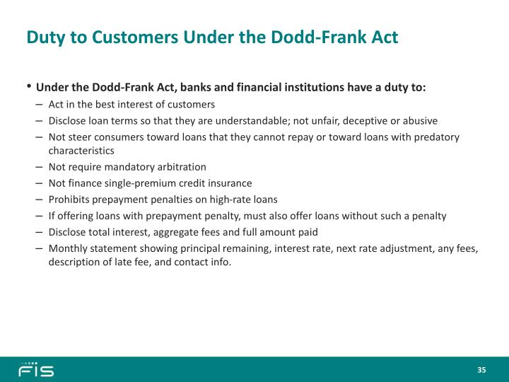 Duty to Customers Under the Dodd-Frank Act