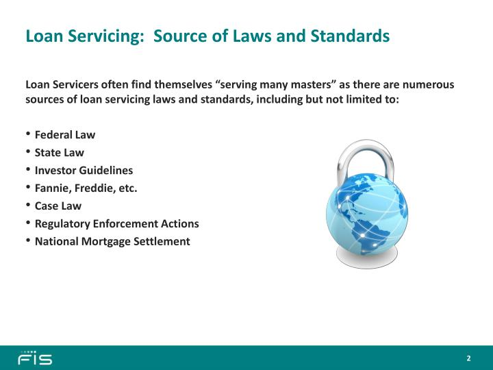 Loan servicing source of laws and standards