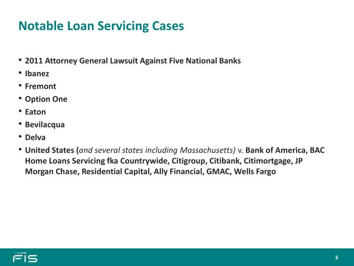 Notable loan servicing cases