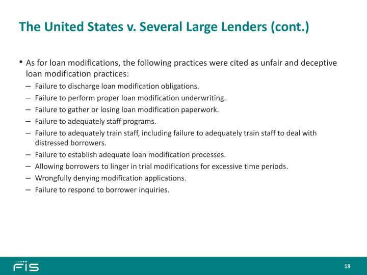 The United States v. Several Large Lenders (cont.)