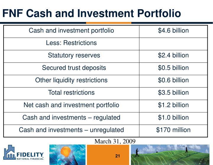 FNF Cash and Investment Portfolio