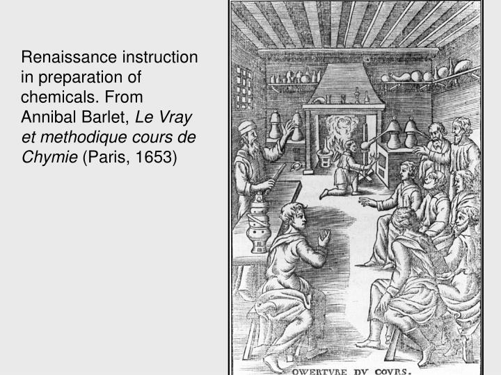Renaissance instruction in preparation of chemicals. From Annibal Barlet,