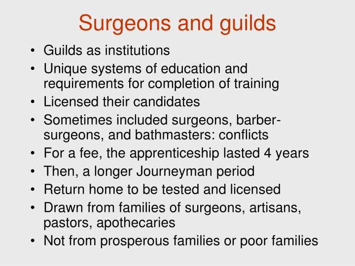 Surgeons and guilds