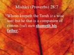 mishlei proverbs 28 7