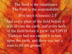 the seed is the inheritance the fruit is the responsibility