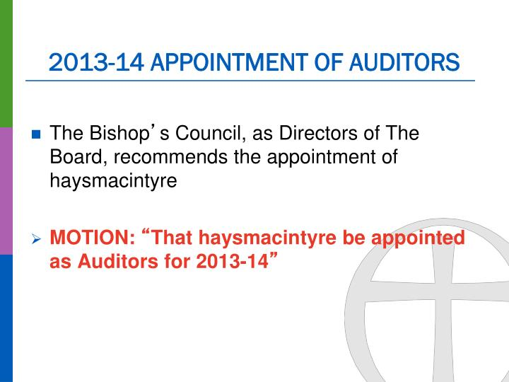 2013-14 APPOINTMENT OF AUDITORS