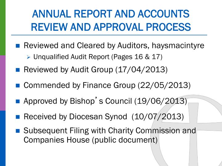 Annual report and accounts review and approval process