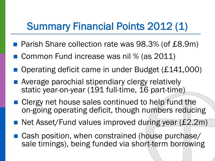 Summary Financial Points 2012 (1)