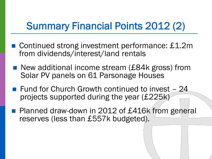 Summary Financial Points 2012 (2)