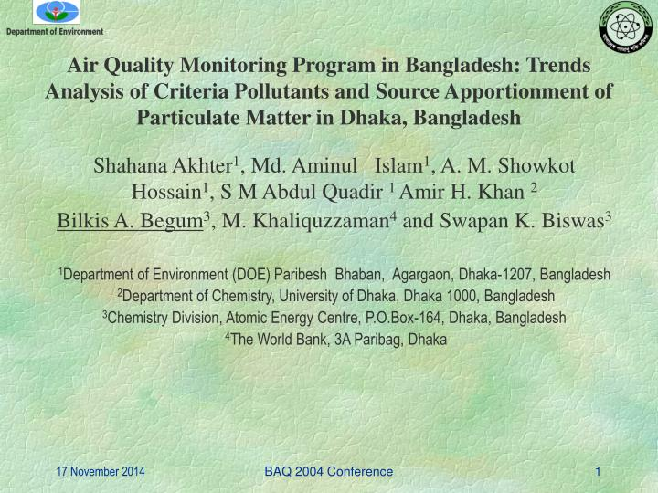 Air Quality Monitoring Program in Bangladesh: Trends Analysis of Criteria Pollutants and Source Appo...
