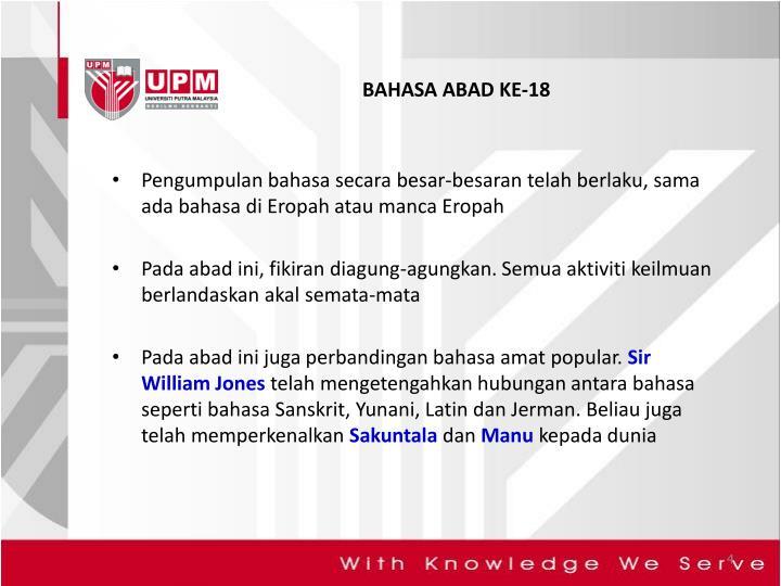 BAHASA ABAD KE-18