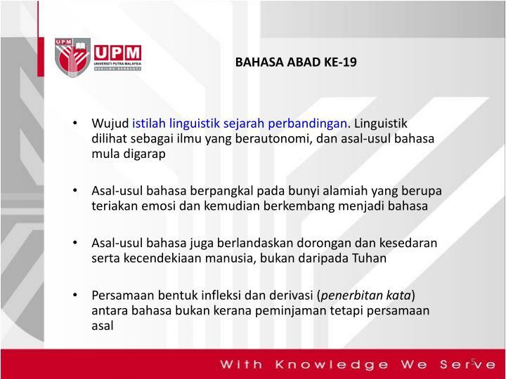 BAHASA ABAD KE-19