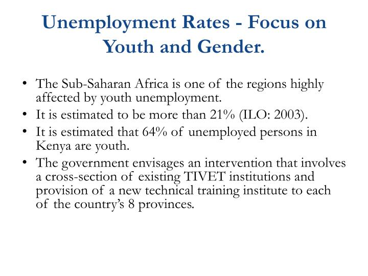 Unemployment Rates - Focus on Youth and Gender.
