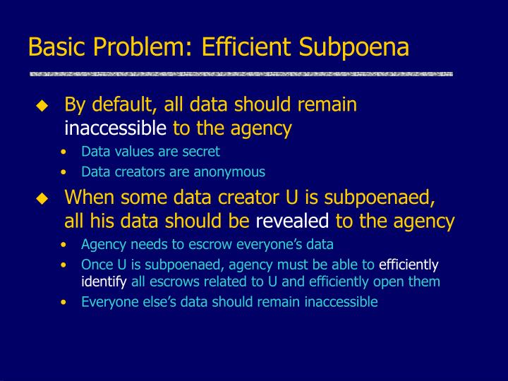 Basic Problem: Efficient Subpoena