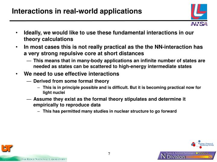 Interactions in real-world applications