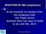 reaction of abi employers