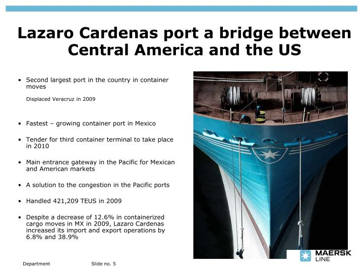 Second largest port in the country in container moves