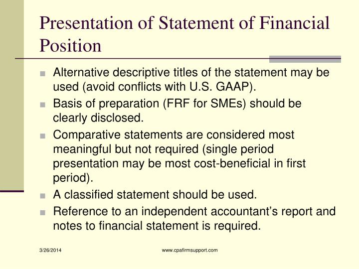 Presentation of Statement of Financial Position